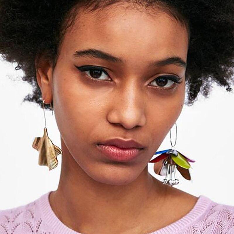 Best lady Fashion Flower Drop Earrings Jewelry Earrings for Women Wedding Statement Alloy Leaf Dangle Bijoux Bohemian Earriings