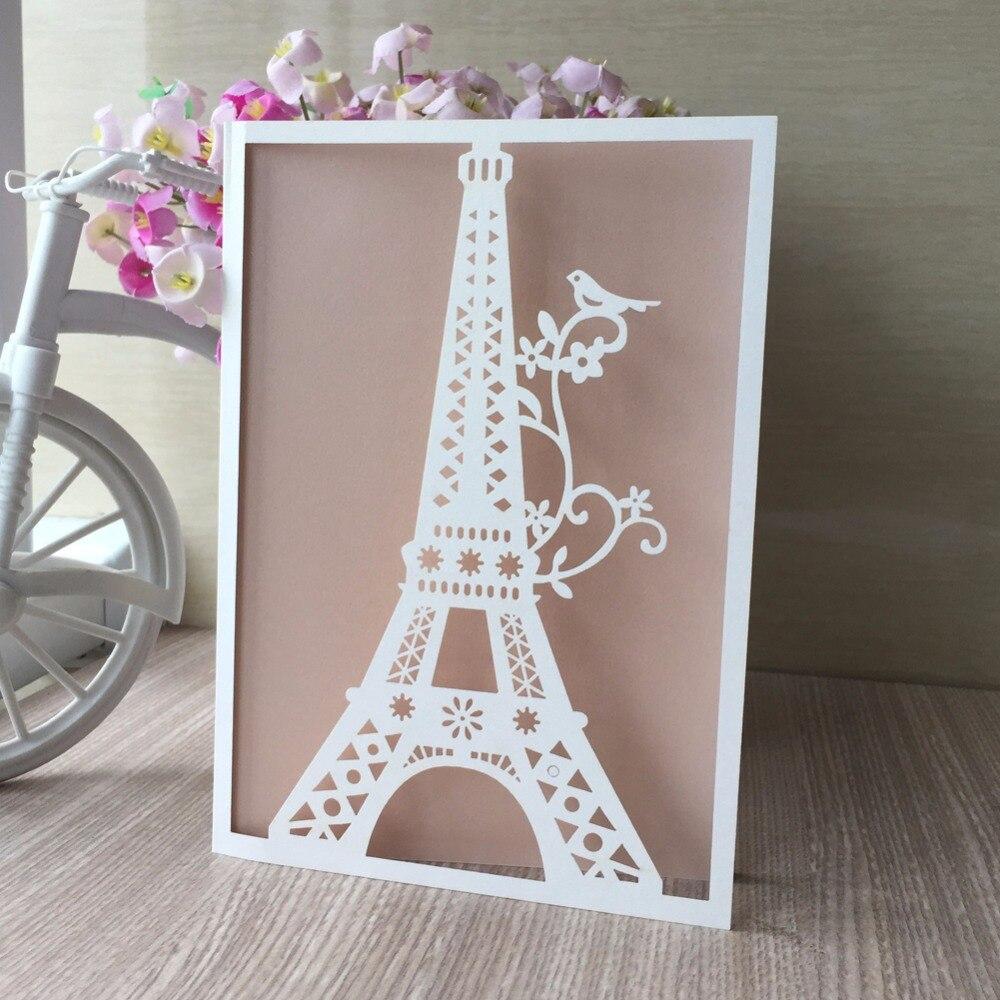 25 68 13 De Descuento 30 Unids Lote Torre Eiffel Patrón Boda Y Fiesta De Compromiso Cumpleaños Tarjeta De Invitación Tarjeta De Felicitación