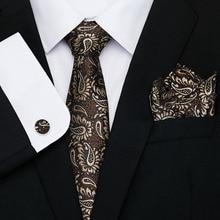 Luxury Silk Brown Paisley Floral Ties for Men Tie Set Ties and Handkerchiefs Fashion Designer Business Wedding Mens Ties