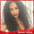 Fashion kinky curly black hair synthetic lace front wig glueless with three combs &adjustabel straps natural looking 150%