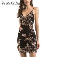 DeRuiLaDy 2017 Women Sexy Sequins Dress Deep V Neck Sling Backless Gold Black Dresses Luxury Party