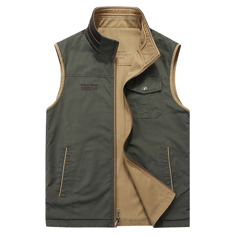 Afs Jeep 2018 Brand Clothing Vest Male Multi-pocket Double-side Wear Casual Vest Cotton Homme Plus Size 5XL Chaleco Hombre