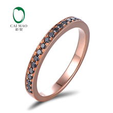 Caimao Jewelry Antique 14ct Rose Gold With Black Diamond Engagement Wedding Band