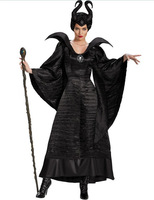 Plus Size Fairy Tale Sexy Black Sleeping Beauty Witch Queen Maleficent Costumes Adult Women Halloween Party Fancy Dress