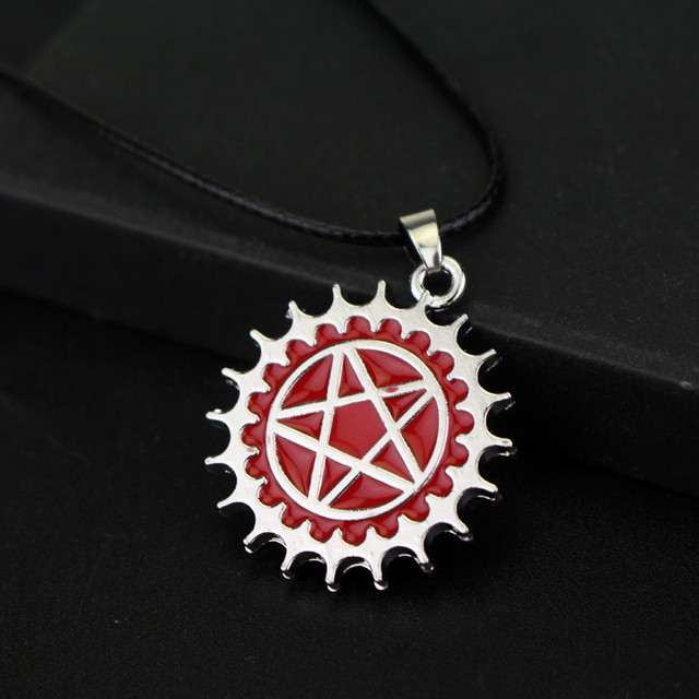 Black Butler Anime Red Enamel Pentagram Logo Necklace Pendant Jewelry