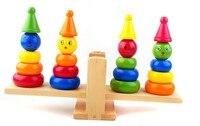 Holz Clown Regenbogen Stacker Wippe Waagschale Bord Balancing Spiel Kinder Früh Montessori Bildung Spielzeug