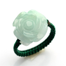 Hot Sell Natural Green Jadeite Rings Hand-carved Jadeite jades BanZhi Women Fashion rose flower Finger Ring Jewelry