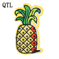 5PCS Pineapple Embroidery Patches for Clothing Shoes Sew on Embroidered Badge Iron on Transfer Applique Patches for Clothes