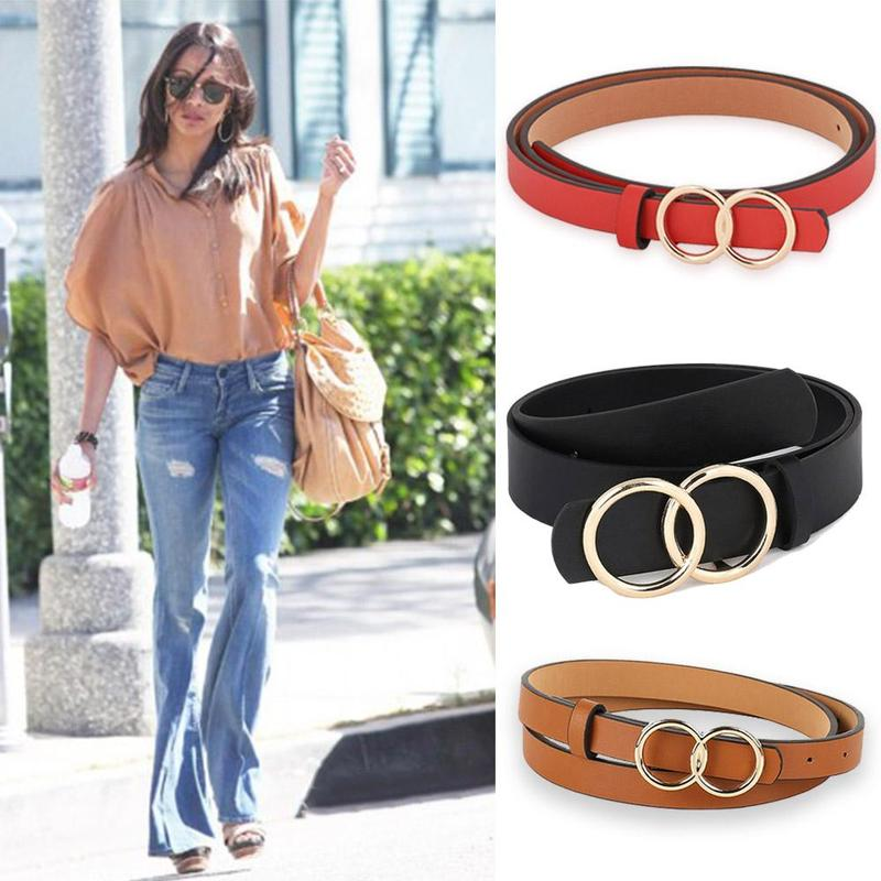 Hot Women's Fashion Simple Smooth Buckle Student   Belt   Wild Black Thin   Belt   Trend Korean Version With Trousers   Belt   Accessories