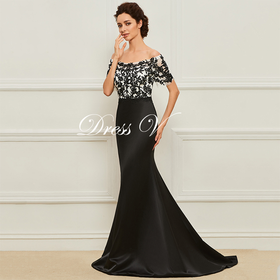 Dressv Long Black Mother Of The Bride Dress Short Sleeves Mermaid Lace Simple Custom Wedding Party