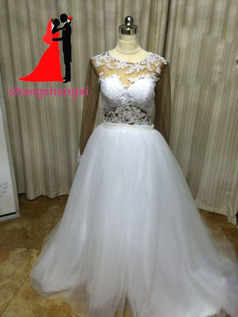 New White Wedding Dresses 2018 Tulle Beaded Long Sleeve Ball Gown ...