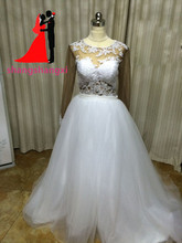 New Real Pictures  White Plus Size Wedding Dresses 2017 Long Sleeve Detachable Two Pieces Lace Appliques Bridal Gown