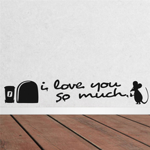 I Love You So Much Quotes Funny Mouse Hole Wall Stickers Kids Room Decorations Diy Vinyl Home Decals Characters Mural Art Poster so much in love