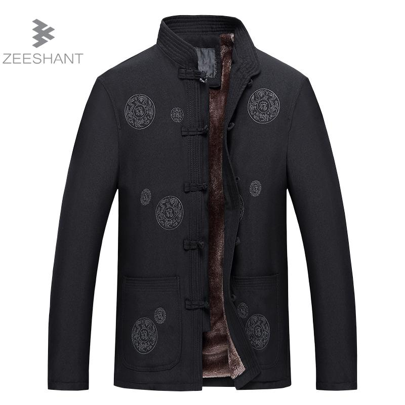 ZEESHANT Fleece Kungfu Jacket New Design Winter Jackets Coats Mens Cotton Chinese Style Embroidery Kanji Coat Campera Hombre a three dimensional embroidery of flowers trees and fruits chinese embroidery handmade art design book