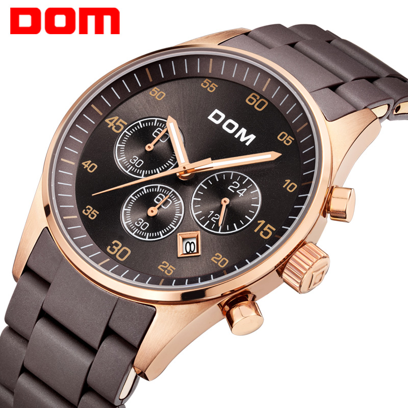 купить DOM men's watch top brand luxury waterproof quartz stainless steel sport watches for men gold clock wrist watch For men M540 по цене 5045.41 рублей