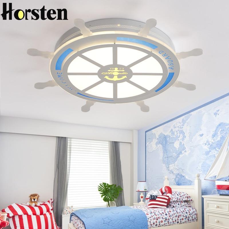 Horsten Modern Creative Acrylic LED Ceiling Lamp For Baby Room Kids Children Bedroom Pirate Rudder Lampshade Ceiling Light