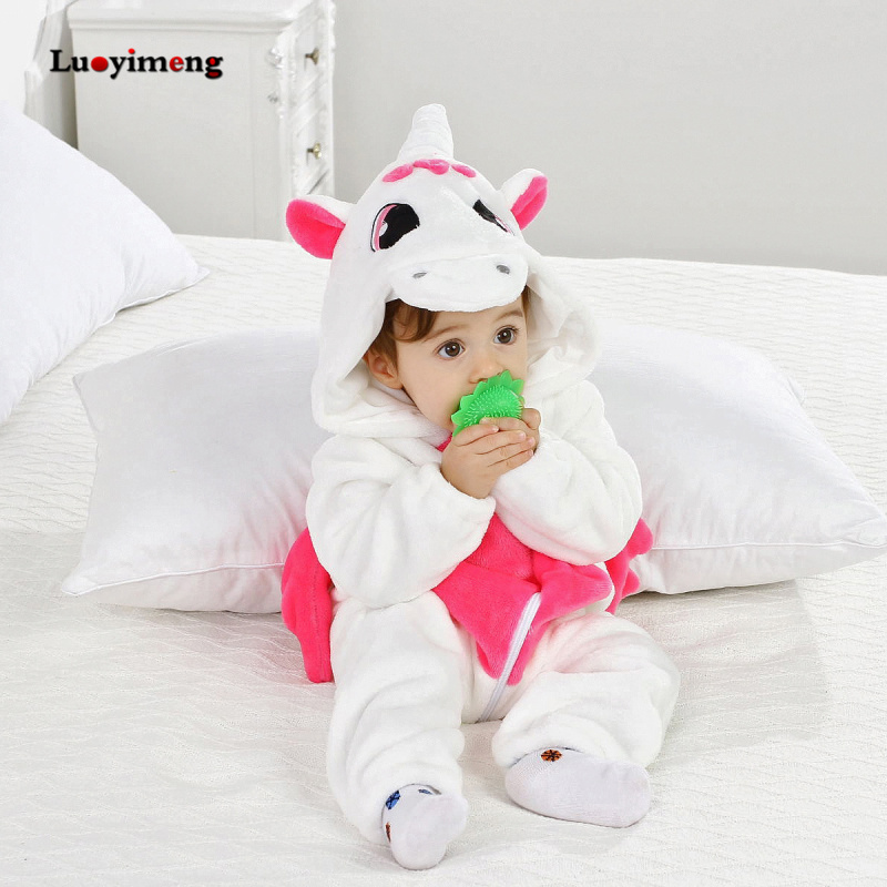 2019 Baby Clothes Unicorn Baby   Rompers   Cute Cartoon Flannel Infant Clothing Newborn   Romper   Baby Girl Clothes Overalls Jumpsuit