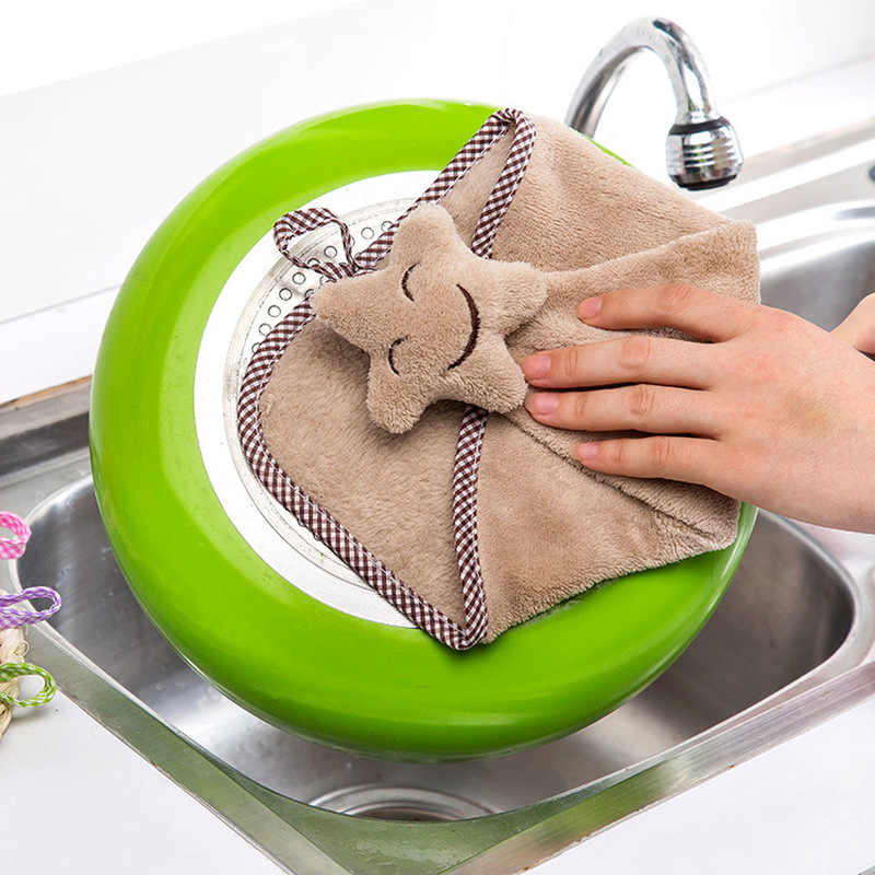 Hot Smiling Face Hanging Hand Towels Kitchen Towel Coral Velvet Absorbent Lint-Free Cloth Dishcloths