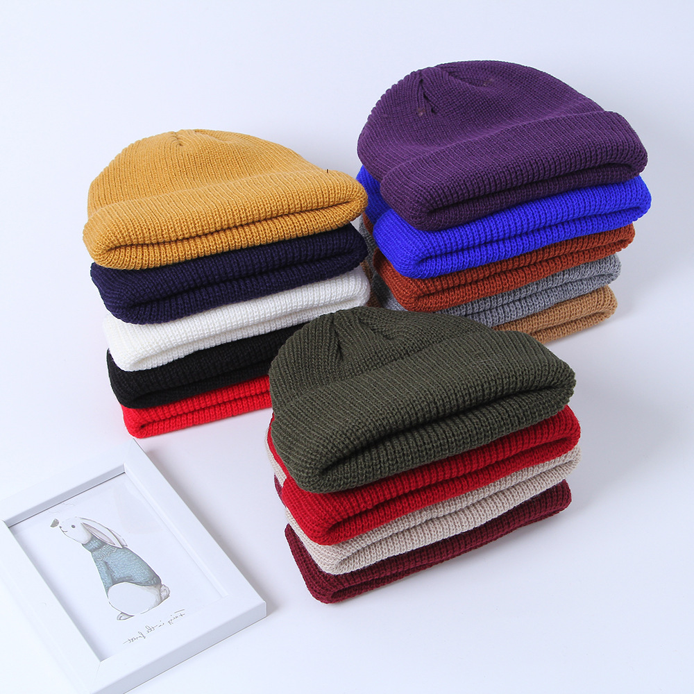 Unisex Winter Ribbed Knitted Cuffed Short Melon Cap Street Solid Color Skull  Retro Ski Fisherman Docker Beanie Hat Slouchy Z65