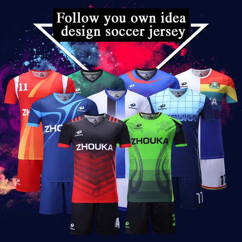 908a7f913 100% polyester dry fit full sublimation custom team soccer uniform new  design sulbimation printing thai quality soccer jersey