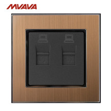 MVAVA Double PC LAN Luxury Wall Decorative Socket Dual Computer Jack Plug Universal Receptacle Gold Satin Metal Free Shipping