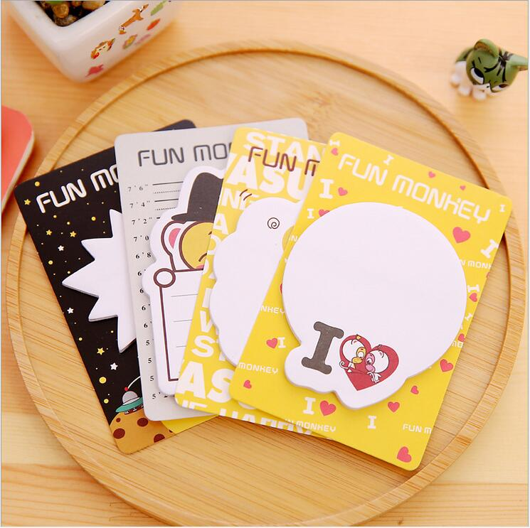 Notebooks & Writing Pads 4pcs/lot New Funny Monkey Memo Pad/sticky Notes/writing Notepad/diy Note/stationery Gift /office School Supplies Wj0364 Available In Various Designs And Specifications For Your Selection
