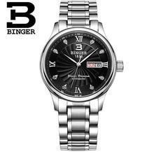 Switzerland Binger Watches Black Men Quartz Wrist Watch man Hot Style Fashion Vintage Auto Date Day Watch
