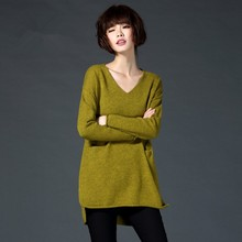 "Ladies"" Fashion Loose Plus Size V-neck Sweater Female Medium-long Pullover Knitted Basic Sweater Long-sleeve Outerwea"