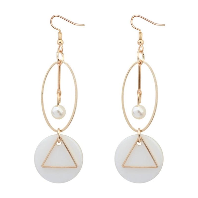 LPHZQH Women fashion jewelery Circle triangle earrings shell long drop earrings geometric earrings for girls Christmas gift