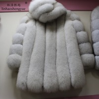 Linhaoshengyue 80cm Long fox real fur black white red blue green coat with hood