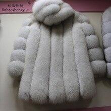 Linhaoshengyue 80cm Long fox real fur black white red blue green coat with hood