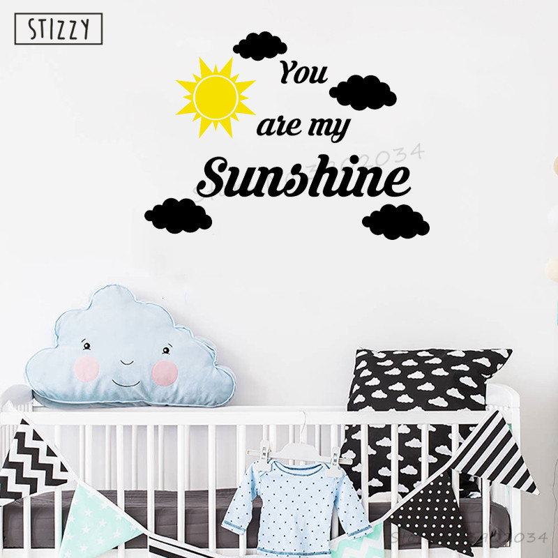 stizzy wall decal you are my sunshine vinyl wall sticker cloud sun