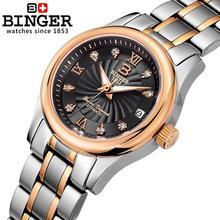 Switzerland BINGER Women's watches luxury18K gold Mechanical Wristwatches full stainless steel Waterproof Wristwatches B-603L-6