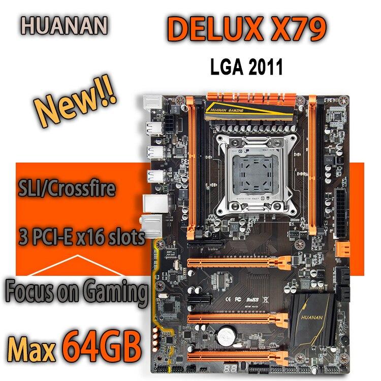 HUANAN golden Deluxe X79 motherboard gaming intel LGA 2011 ATX apoio 4x16 GB 64 GB de memória crossfire PCI-E x16 7.1 trilha sonora