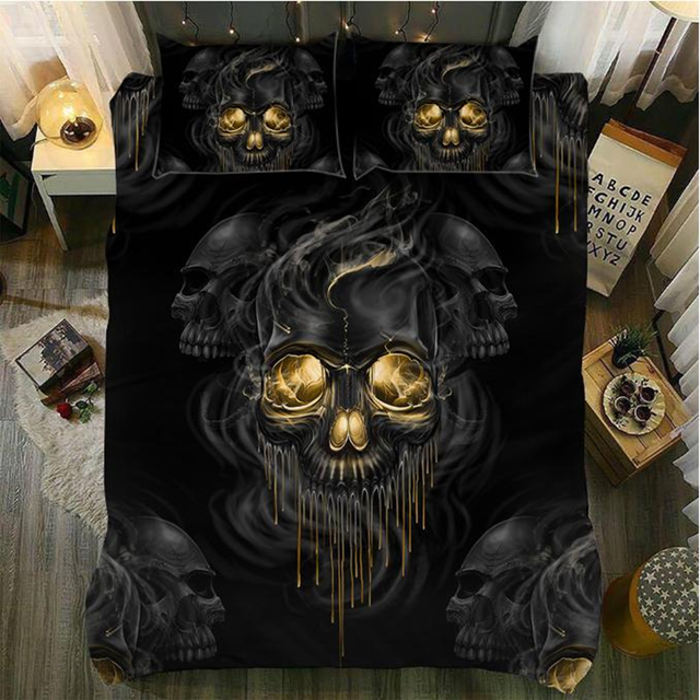 GOLD EYE SKULL 3D BEDDING SETS