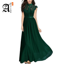 Fashion Dark Navy Long Evening Gowns 2019 New Black Party Formal Dresses O-Neck Chiffon Lace A-Line Slim Fit Green Dress