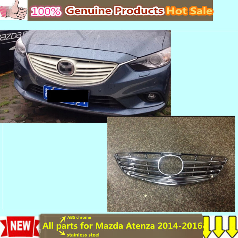 Free shipping for Mazda Atenza 2014-2016 car body cover ABS chrome trim Front up Grid Grill Grille Around Stick frame lamp 1pcs