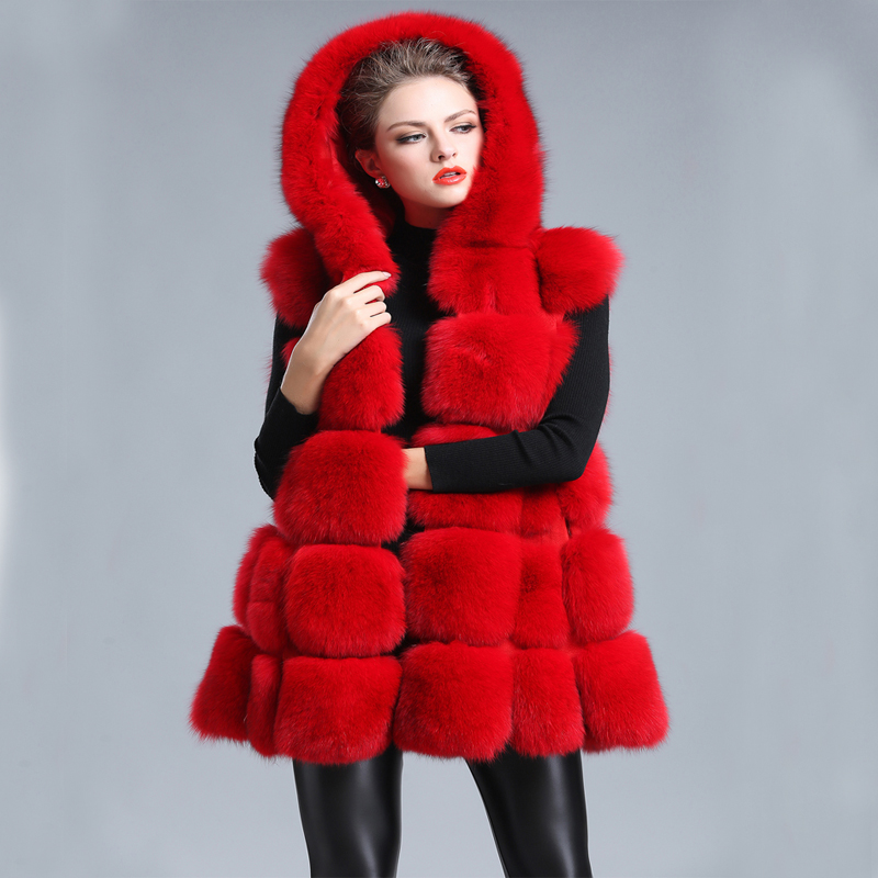 34f850442b8 Winter Hoodie Fur Vest Long Coat Women Faux Fur Coat Plus Size Waistcoat  Fluffy Jacket Outwear red fur coat-in Faux Fur from Women s Clothing on ...