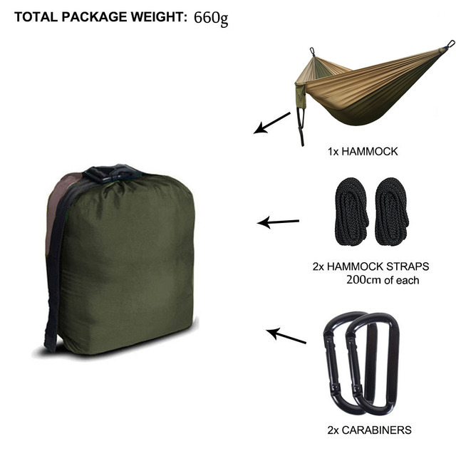 Camping Parachute Hammock Survival Garden Outdoor Furniture Leisure Sleeping Hamaca Travel Double Hammock 300*200cm