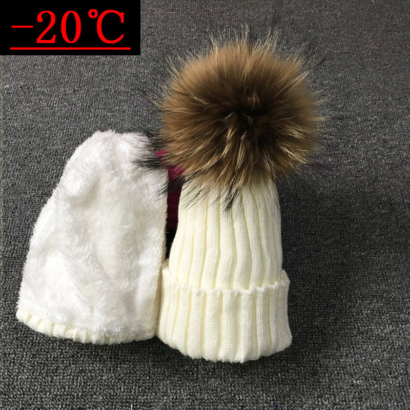 2018 Children Real Raccoon Fur Ball hats Plus velvet Winter Hat Cap For Kids Boy Girl Warm Fur Pom Poms Ski Hat Fur Pompoms Hat