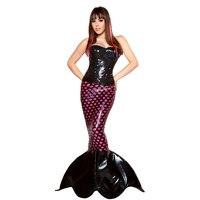 Adult Women Deluxe Sexy Dark Sequin Mermaid Cartoon Character Halloween Costume