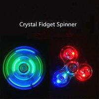 Transparent Crystal Plastic LED Light Hand Spinner Led Crystal Luminous Led Fidget Spinner New EDC For