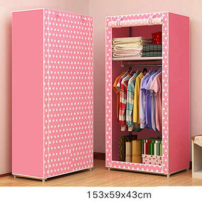 US $28.79 28% OFF|Folding Non woven Cloth Wardrobe Student Children Bedroom  Small Wardrobe DIY Assembly Clothes Storage Cabinet Home Furniture-in ...