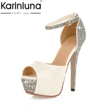 86b5f762aac0 KarinLuna 2018 top quality large size 32-43 bling summer sandal shoes women  sexy party
