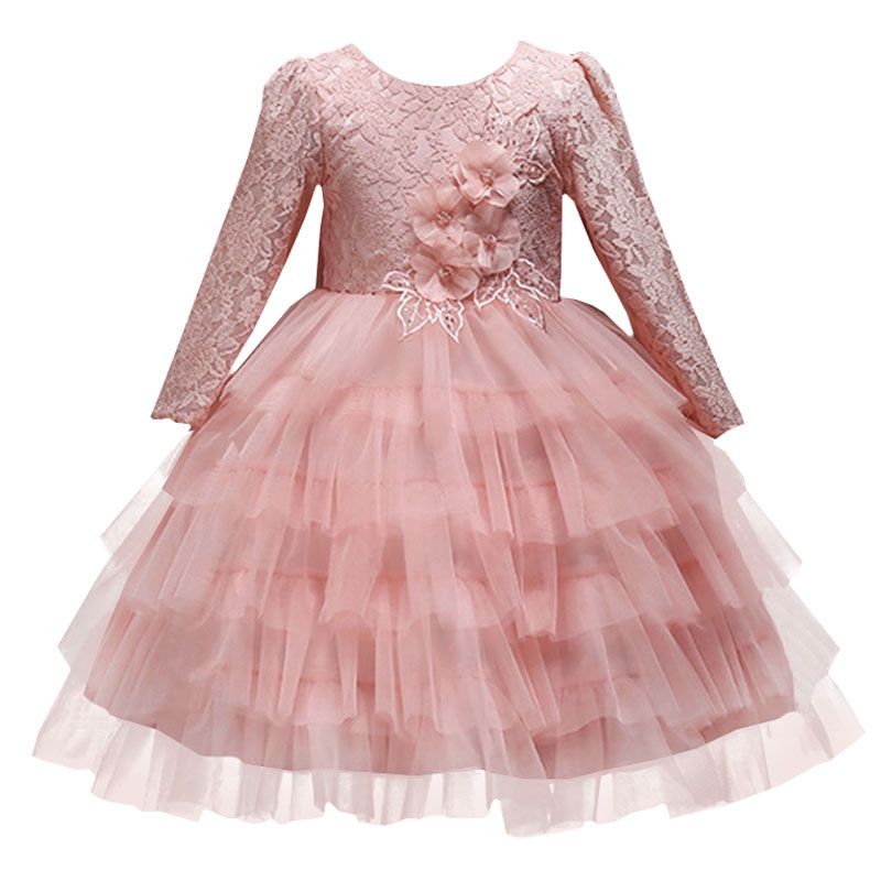 Baby girl Christmas dress elegant lace flower bow kids girl princess long sleeve banquet dress children's tutu clothing цены онлайн