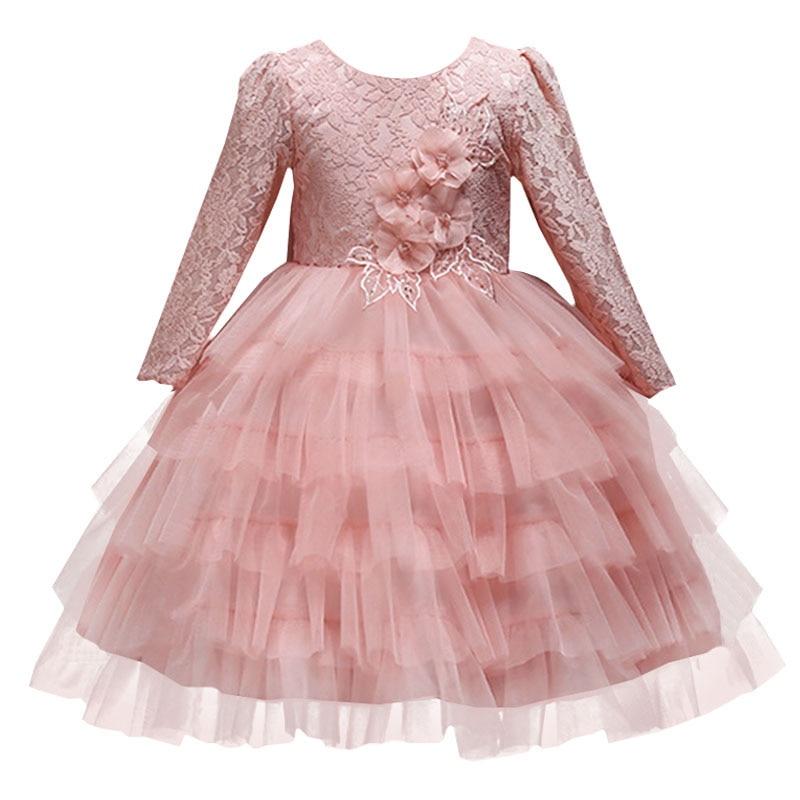 Baby girl Christmas dress elegant lace flower bow kids girl princess long sleeve banquet dress children's tutu clothing