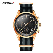 SINOBI Spy 007 Men's Golden Sports Wrist Watches Chronograph Military NATO Nylon Watchband Luxury Brand Males Quartz Clock G14