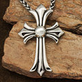 Oversized vintage the cross flower  men's stainless  steel  big pendant long  necklace