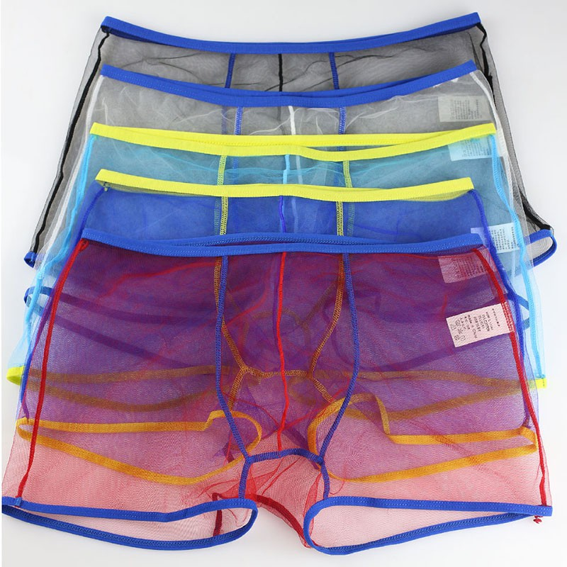 Sexy Men Transparent Boxer Shorts See Through Underwear Mesh Boxers