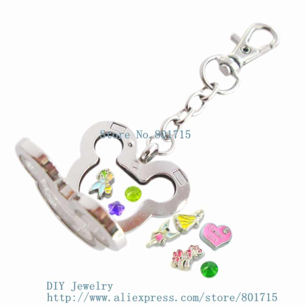 1 conjunto liso mouse Keychain liga de zinco flutuante em forma de medalhão flutuante Magnético do vidro de flutuação medalhão com 10 encantos gratuitos